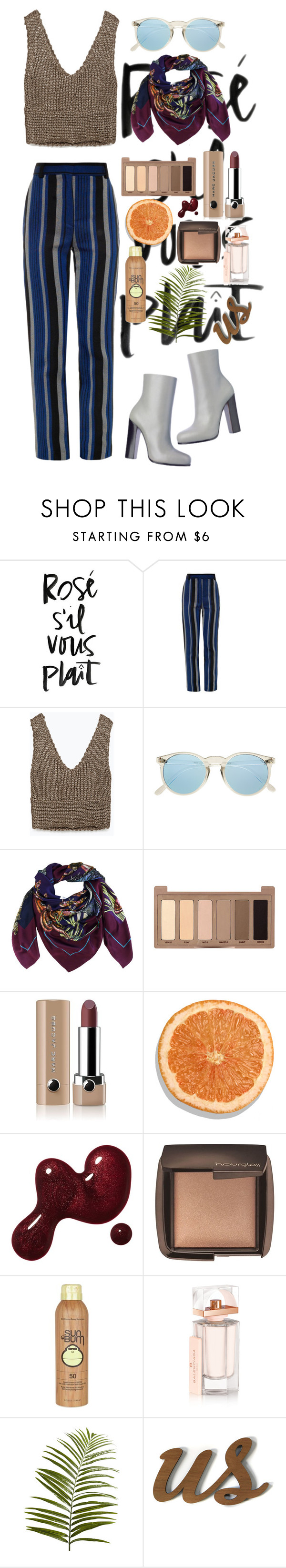 """Rosè s'il vous plâit"" by hannia-larino ❤ liked on Polyvore featuring Proenza Schouler, Zara, Heron Design Studio, Urban Decay, Marc Jacobs, Hourglass Cosmetics, Sun Bum, Balenciaga and Pier 1 Imports"