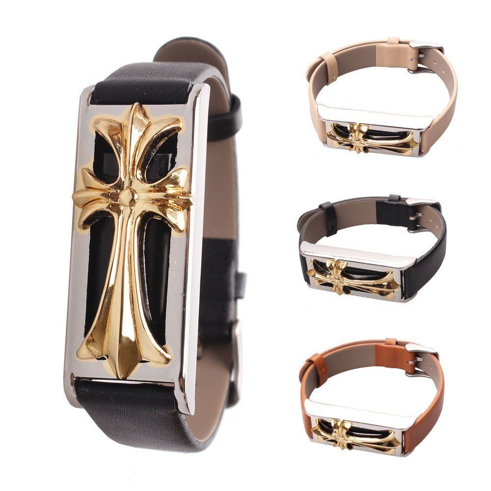 f5f32359b199 Replacement Leather Golden Steel Cross Metal Bracelet Band for Fitbit Flex