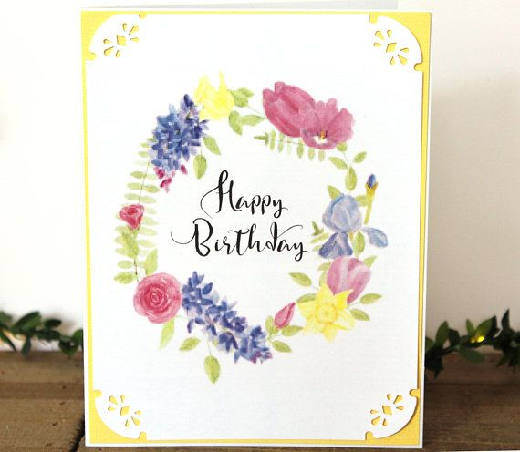 Handmade Birthday Card Water Color Wreath Floral Yellow Blue Pink White Classic Vintage Look Blank Inside Free US Shipping