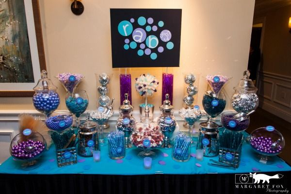 Bat Mitzvah Candy Buffet Table Purple Turquoise Blue The Event Of A Lifetime Mazelmoments Com Bat Mitzvah Party Bat Mitzvah Candy Bat Mitzvah Candy Bar