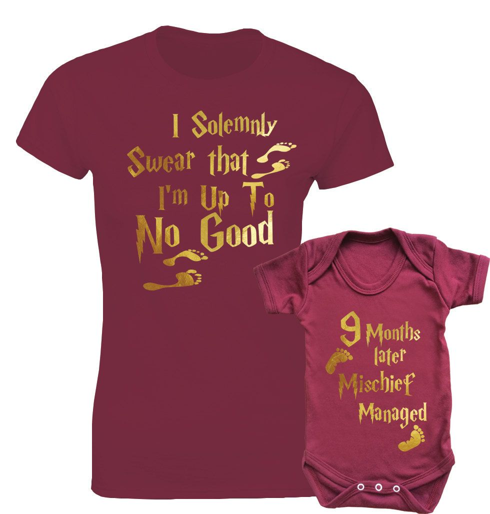 16f9b345ec62 Harry Potter Marauder's Map inspired mother's t-shirt and baby bodysuit  onesie burgundy set with gold text. by MumKnowsBabyGrows on Etsy