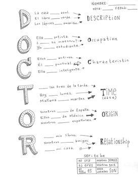 Spanish verb Ser ~poster DOCTOR ~Ser conjugation ~bulletin board ...