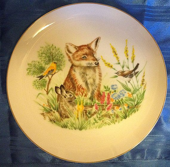 New low price! Woodland scene decorative ceramic wall plate with Red ...