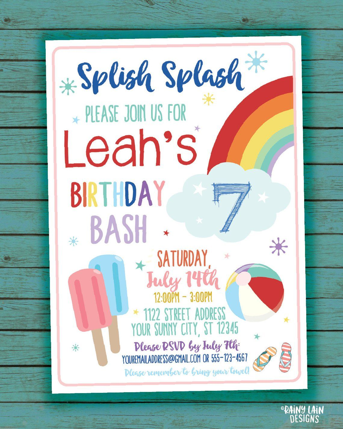 Sunny Beach Pool Personalized Party Thank You Cards
