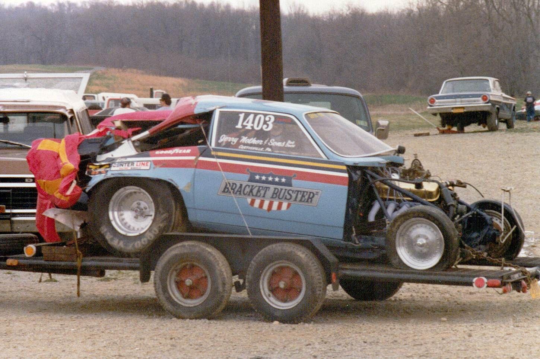 Bracket Buster Super Gas Vega after top end crash, Keystone Raceway Park, New Alexandria, PA.