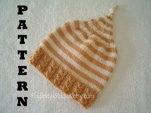 Knitting Pattern - Baby Hat Pattern - Boys Autumn Stripe Pixie Hat (Newborn, Infant, Toddler, Child sizes) Knitted Fall Children Clothing. $4.99, via Etsy.