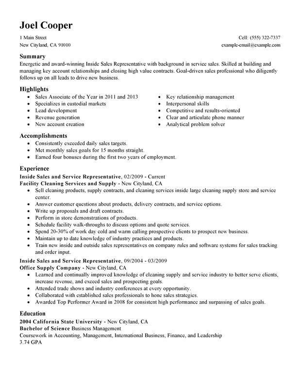 resumes outside sales resume samples sample for example key - award winning resumes samples