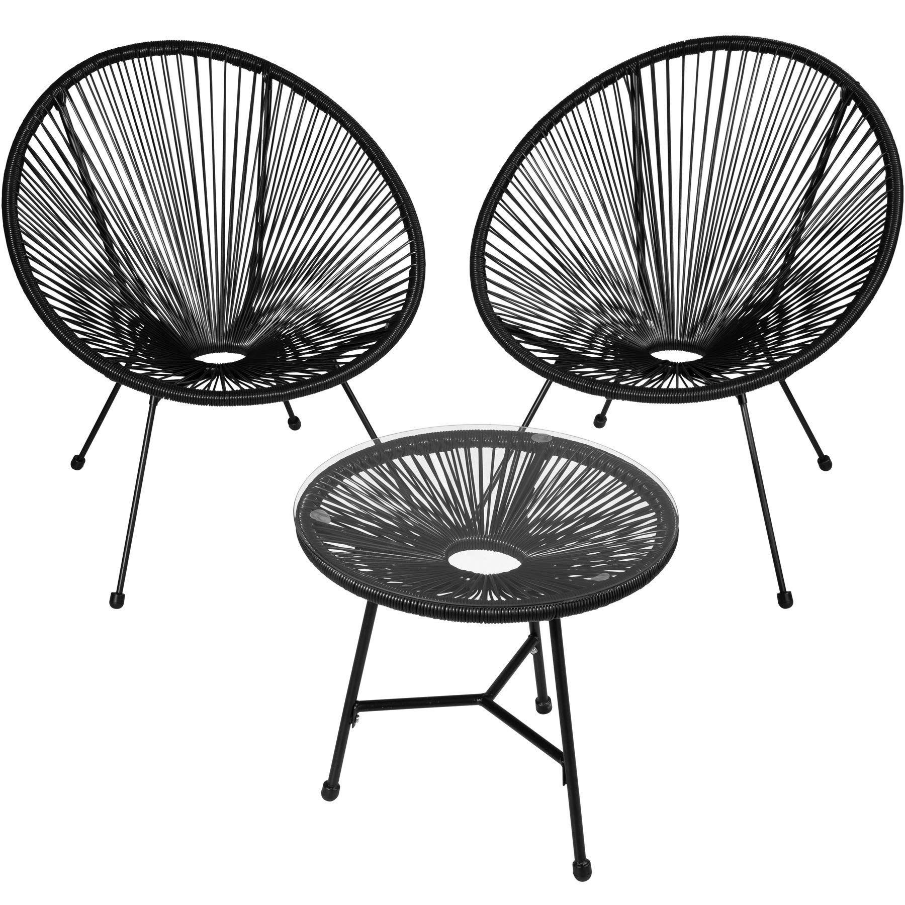 Amazon De Tectake 800730 2er Set Acapulco Garten Stuhl Mit Tisch Lounge Sessel Im Retro Design Indoor Und Outdoor Gartenstuhle Balkonstuhle Garten Essgruppe