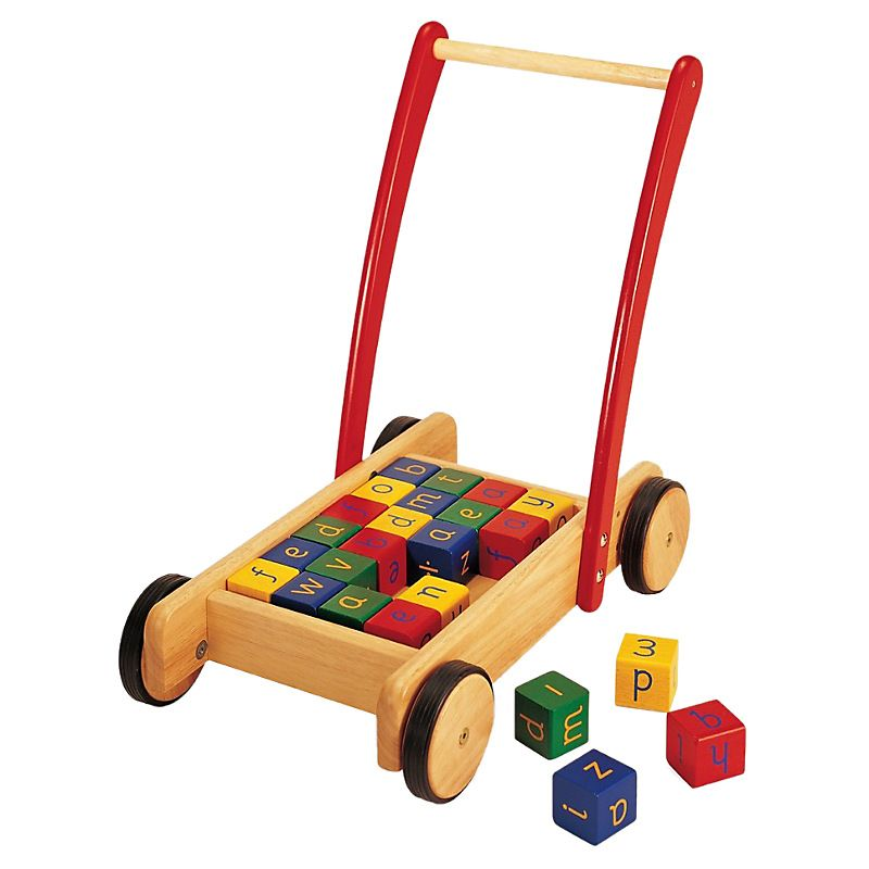 Wooden walker and bricks | Wooden baby walker, Baby walker ...