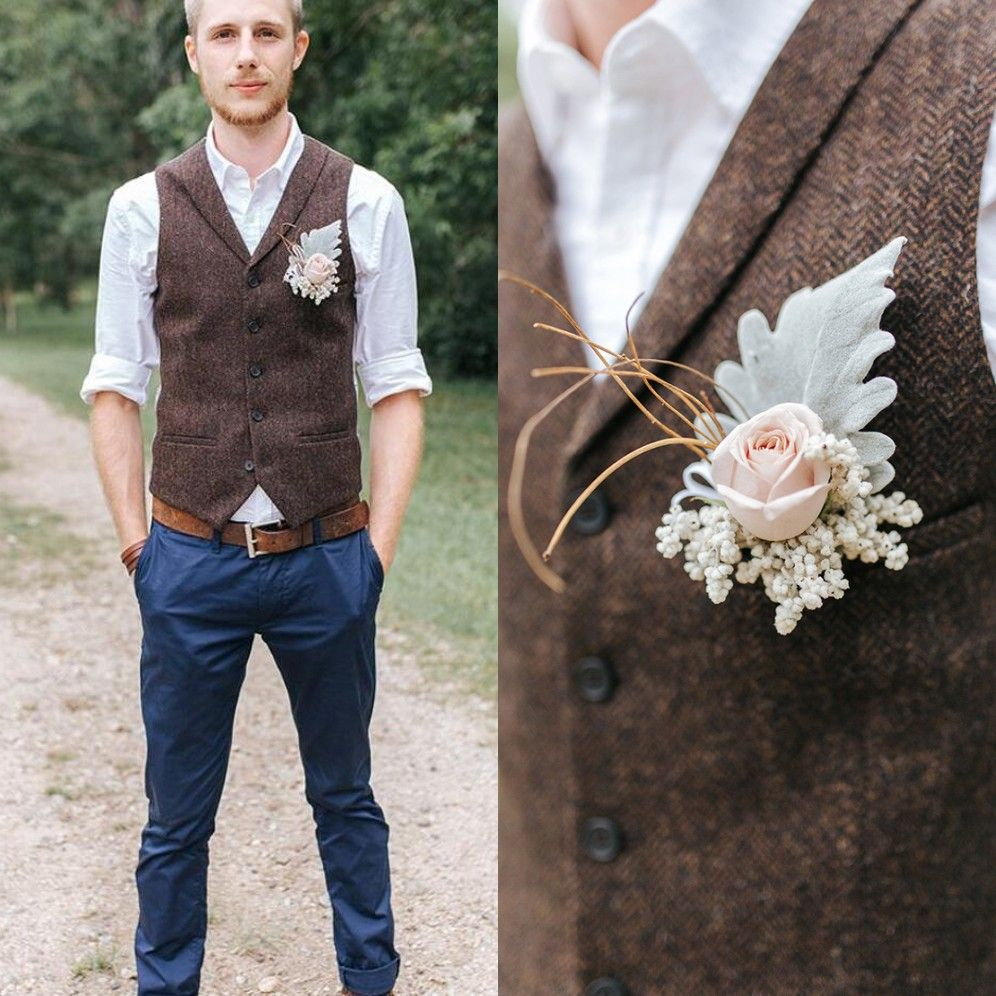 farm wedding brown wool herringbone tweed vests custom made