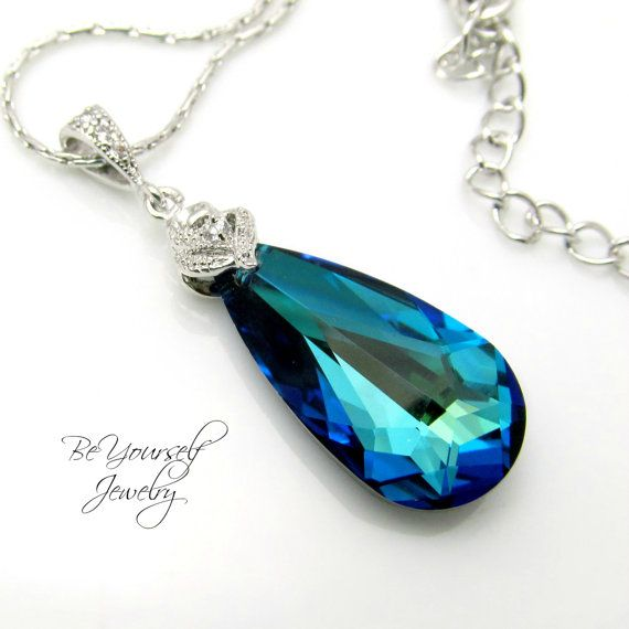 Peacock blue bridal necklace sea green teardrop bride necklace peacock blue bridal necklace sea green teardrop bride necklace swarovski crystal bermuda blue wedding jewelry something blue bridesmaid gift mozeypictures Images
