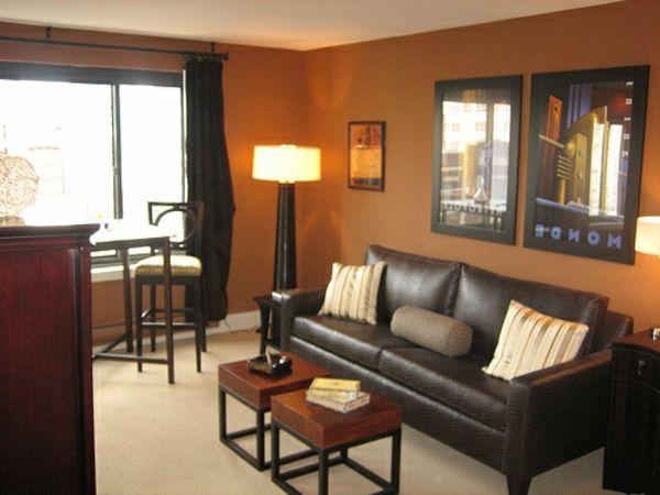 Ideen wohnzimmer wände braun  Wohnzimmer streichen - 106 inspirierende Ideen - Archzine.net ...