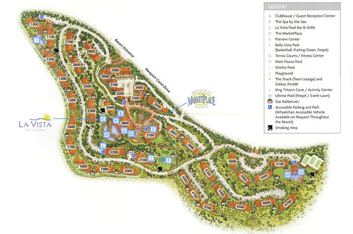 Resort map for Marriotts Newport Coast Villas newport beach