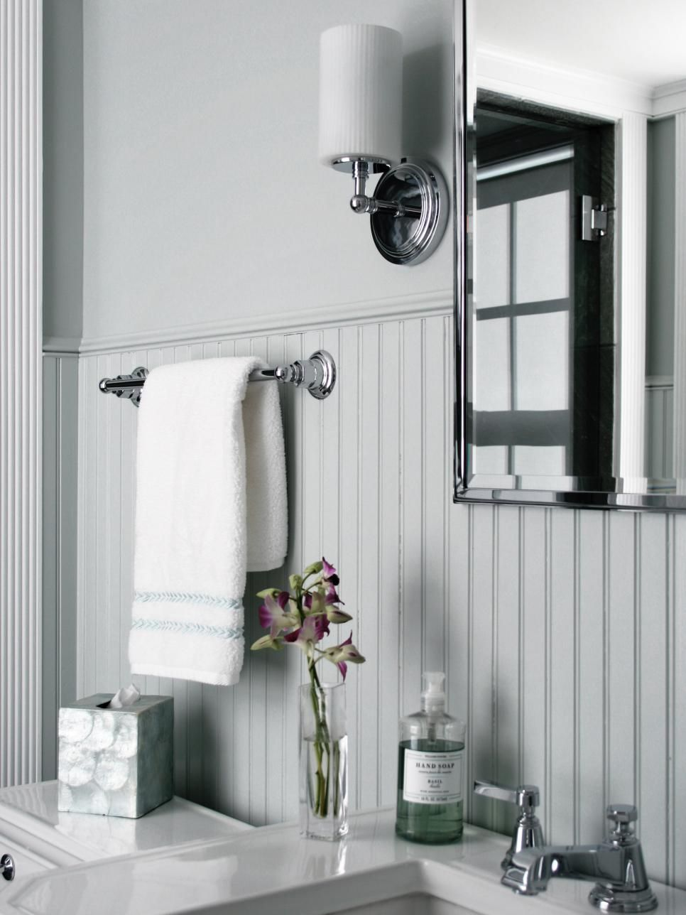 The beadboard wainscoting adds texture and durability to this