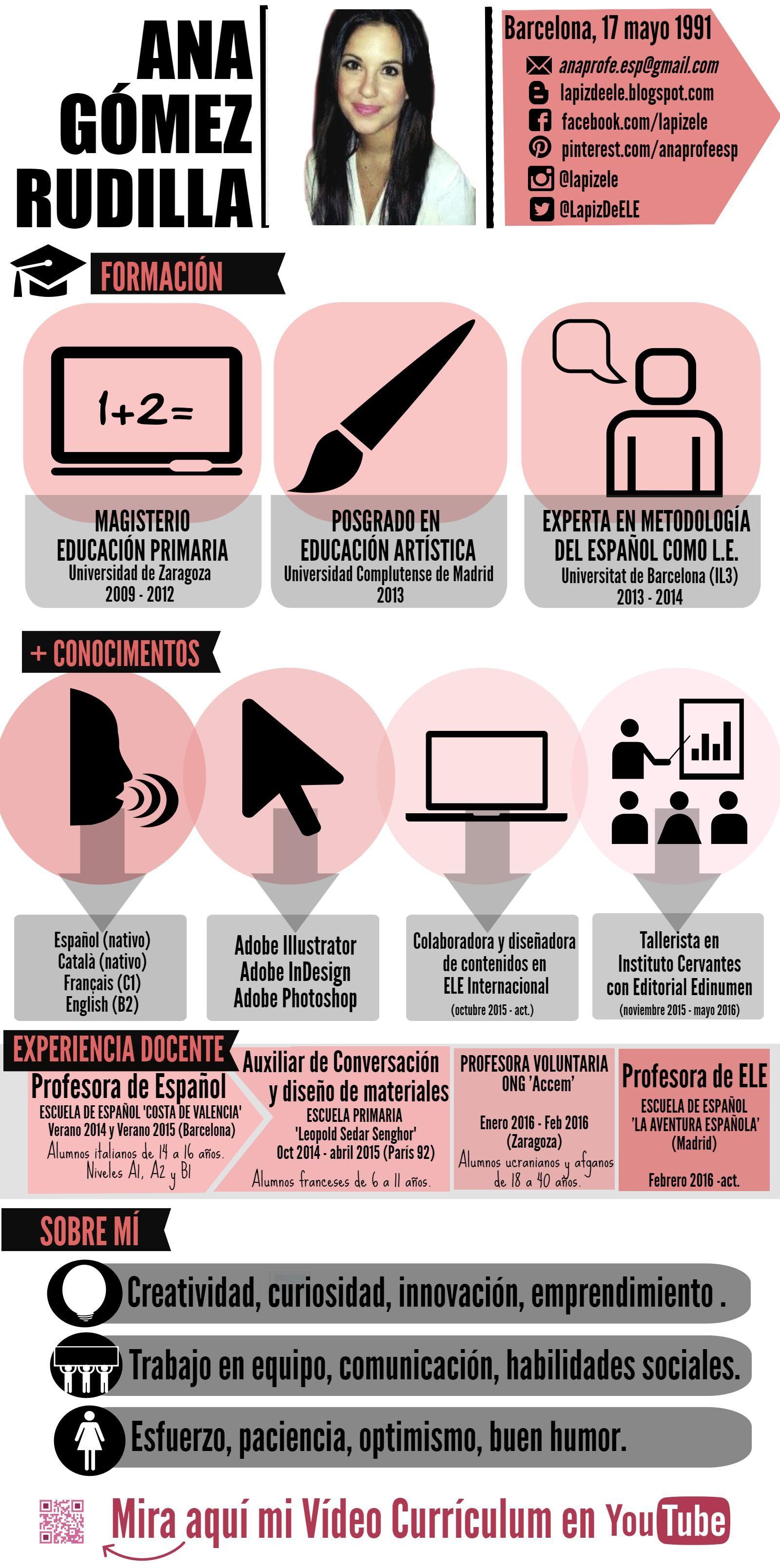 infographic cv ana g u00f3mez profesora  teacher cv