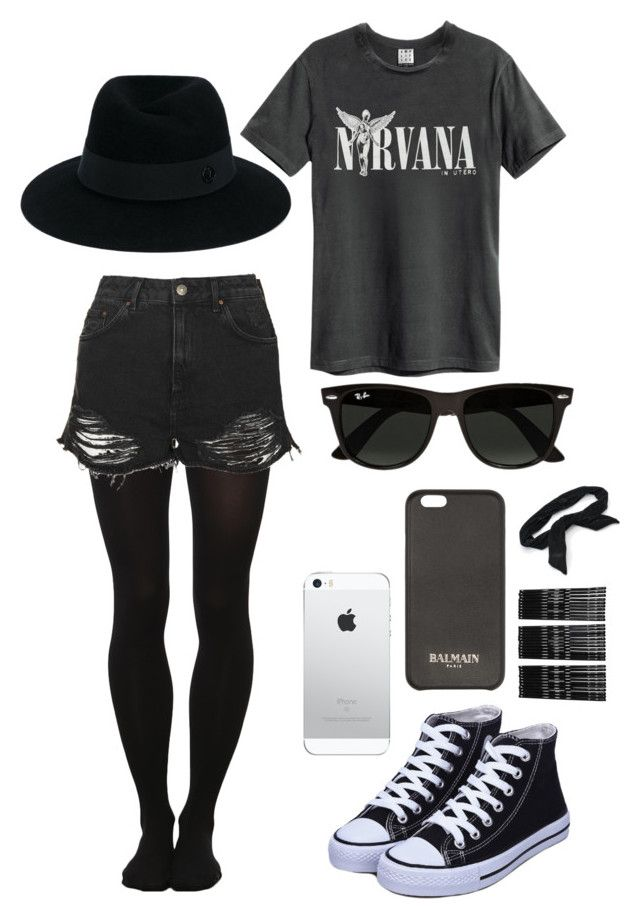 """Nirvana"" by eleanorwood032 ❤ liked on Polyvore featuring Topshop, Maison Michel, Balmain, Ray-Ban, Monki and Candie's"