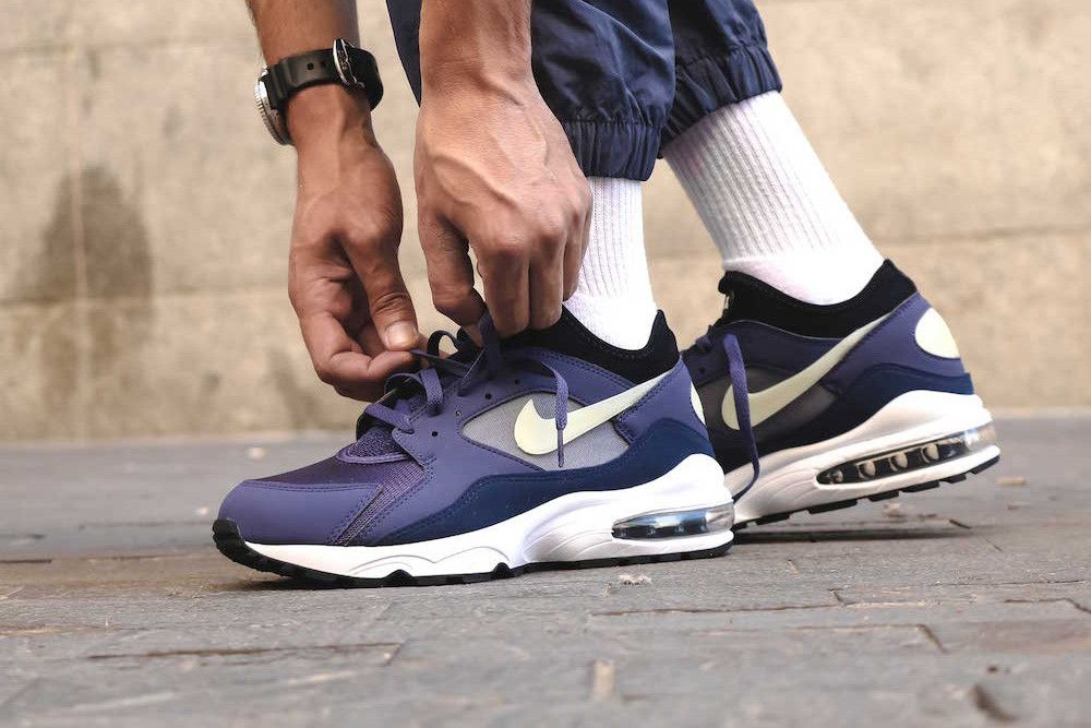 867d70c50dc0 Nike Air Max 93 Purple Patch On Foot Look Blue Sail White Release Info