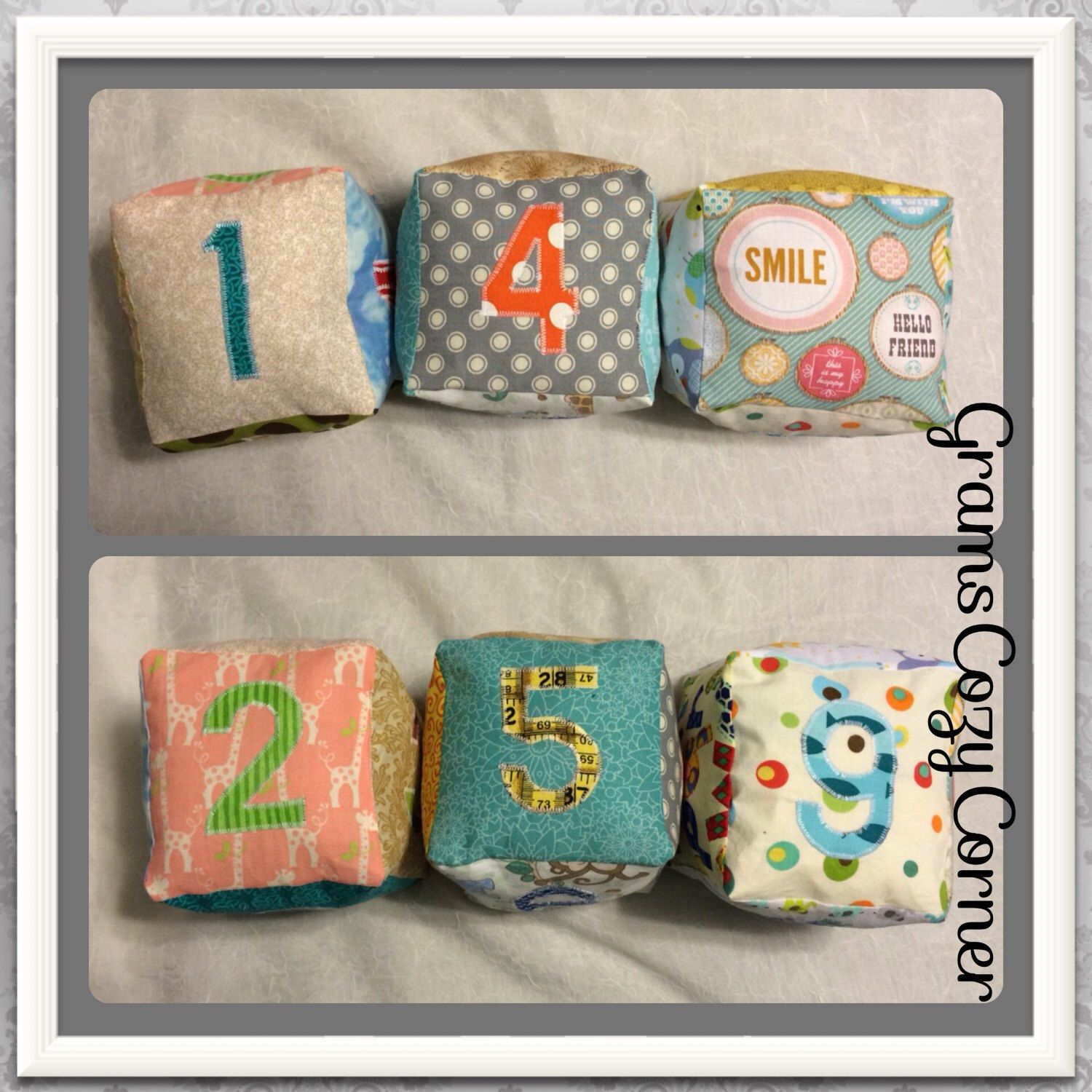 """Custom """"dice"""" soft stuffed blocks made for a baby photographer to be used in photos to announce baby's age 📷"""