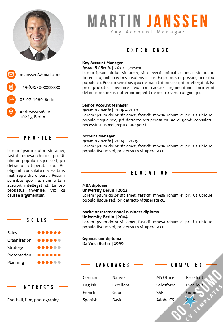 Cv template berlin orange produk pinterest cv template and cv template berlin go sumo cv template yelopaper Choice Image