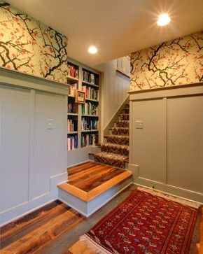 Attic Remodel Traditional Staircase And Good Use Of Space For Books On The Landing Basement Flooring Options Basement Flooring Finishing Basement