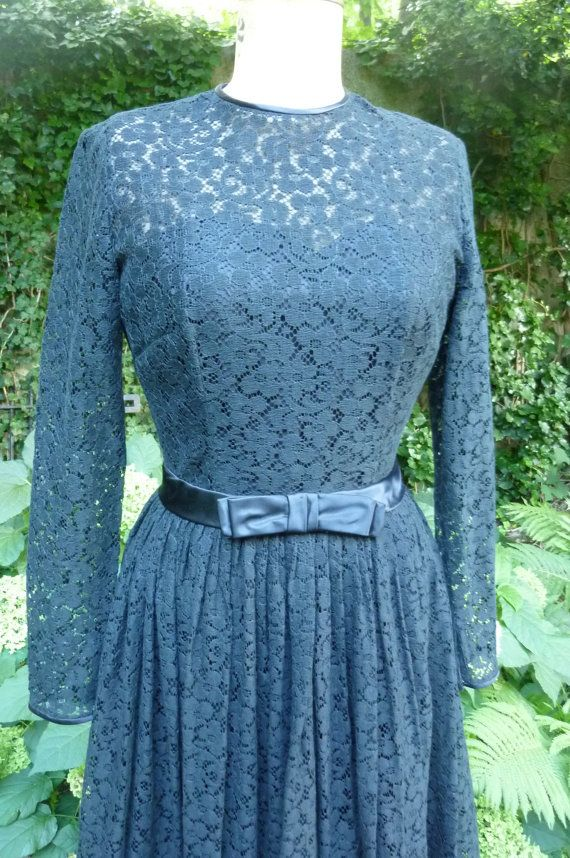 Vintage Lace Cocktail Dress Mad Man Dress Sheer Black Lace Evening ...