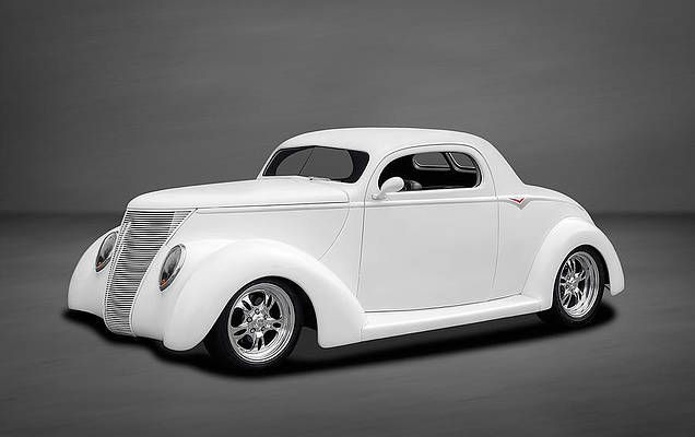 Hot Rod Wall Art - Photograph - 1937 Ford Coupe In Soft White by Frank J Benz
