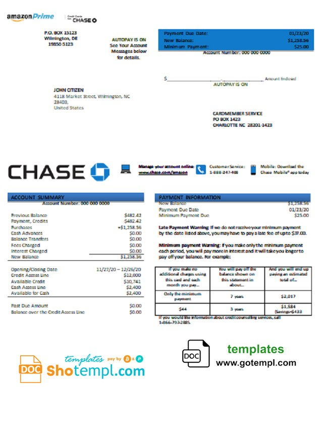 Usa Chase Bank Credit Card Statement Template In Word And Pdf Format Chase Bank Credit Card Statement Template Credit Card Statement