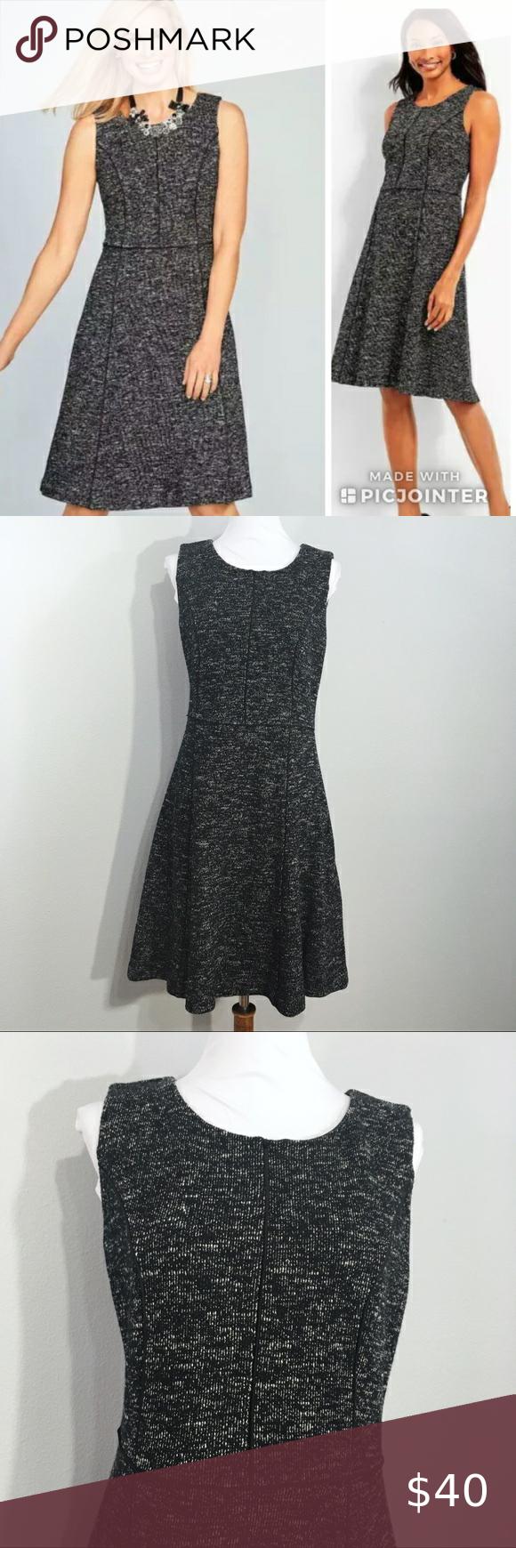 Talbots Black Berkeley Tweed Fit Flare Dress 6p Fit Flare Dress Flare Dress Talbots Dress [ 1740 x 580 Pixel ]