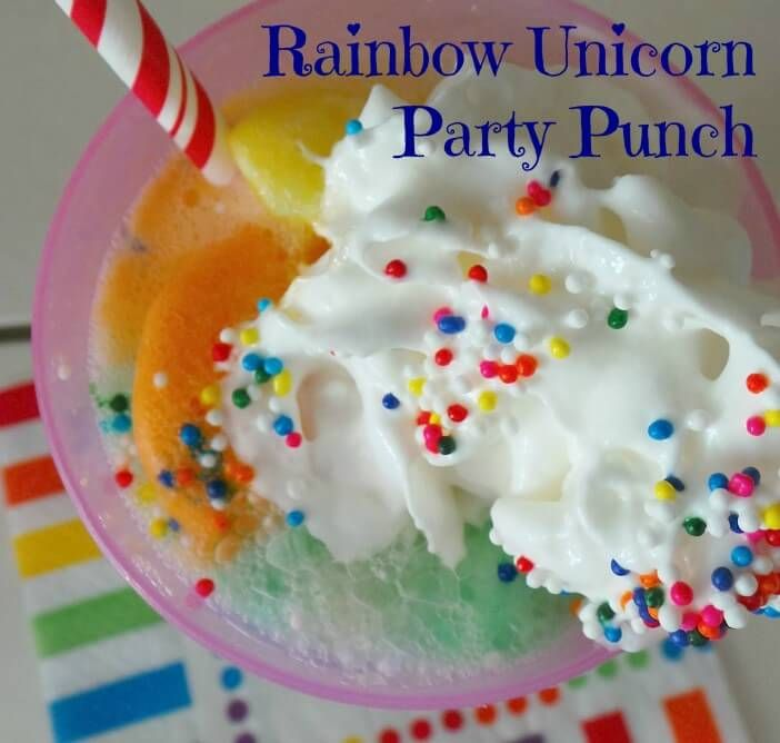 Rainbow Unicorn Party Punch - Rainbow unicorn party, Unicorn party, Rainbow unicorn birthday party, Rainbow unicorn birthday, Party punch, Kid drinks - 3 full  3) Add in one scoop of rainbow sherbet  4) Add a shot of whipped cream on top  5) Dash of rainbow sprinkles and a colorful straw