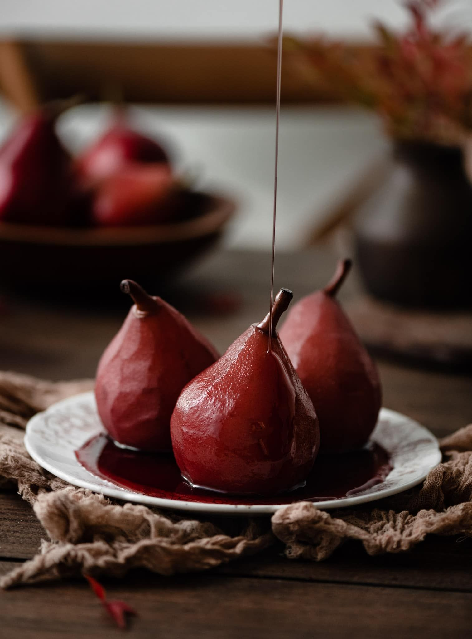 Wine Poached Pears Two Cups Flour Recipe In 2020 Wine Poached Pears Poached Pears Poached Pears Recipe