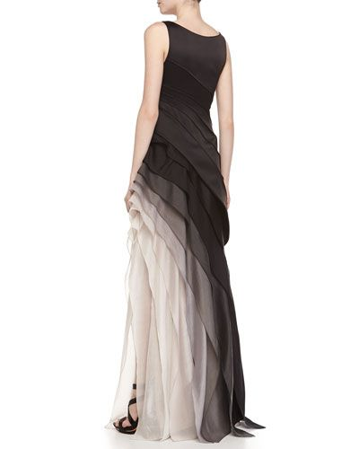 f168bc3ccffd13 Halston Heritage Sleeveless Ombre Tiered Gown in 2019 | Modern Gowns ...