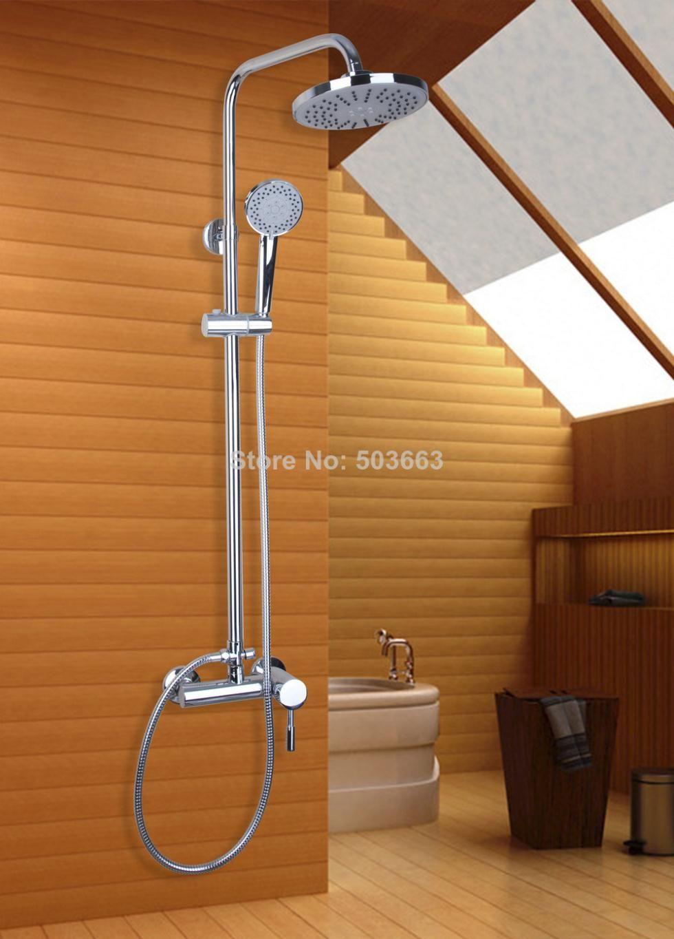 Torayvino Brass Chrome ABS Nozzle Round Shower head Slide Bar Hand ...