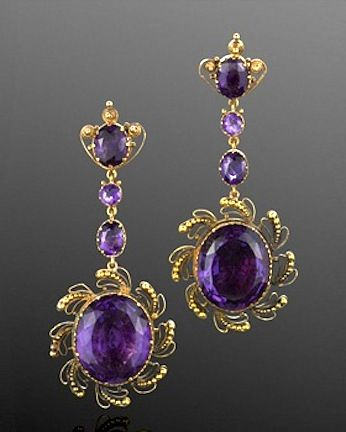 Georgian Yellow Gold Amethyst Cannetille Pendant Earrings, English, circa 1820.  Fred Leighton