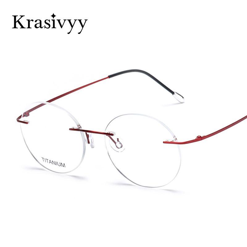 cd652f4551 Krasivyy Memory Titanium Glasses Frames Men Women Ultralight Brand Designer  2018 Vintage Round Rimless Eyeglasses Optical