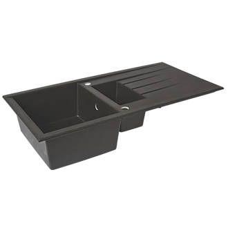 Plastic & Resin Kitchen Sink & Drainer Black 1.5 Bowl Reversible ...