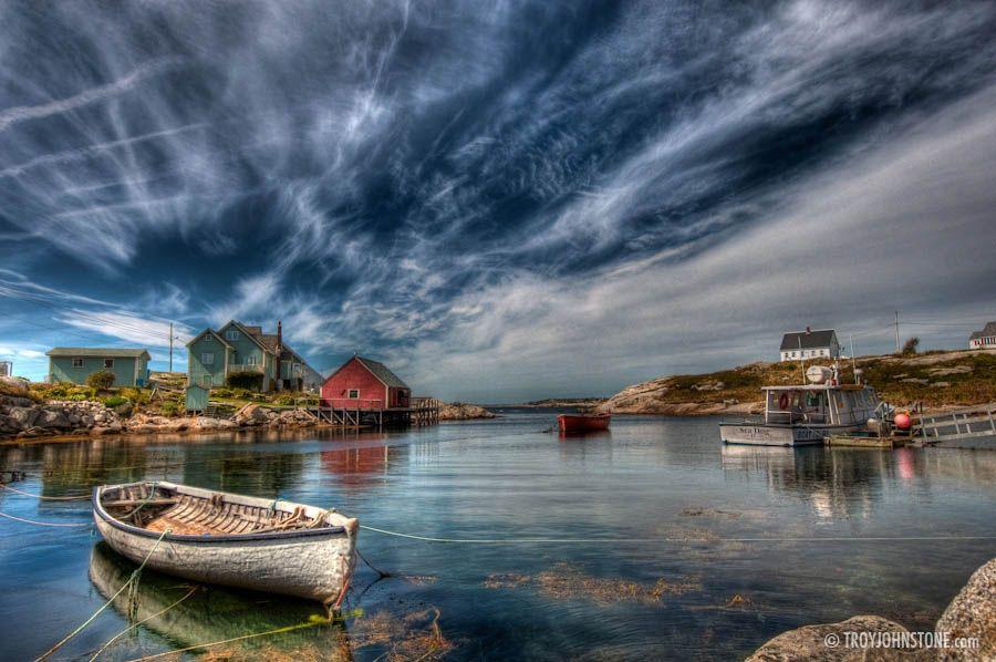 Peggy's Cove Nova Scotia. The sky looks fake, but I don