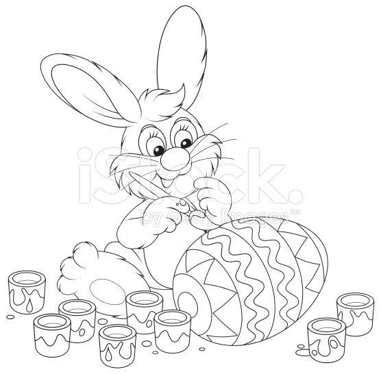 Funny Rabbit Decorating A Big Easter Egg To The Upcoming Holiday Osterhase Malen Osterhasen Bilder Zum Ausmalen Osterhase