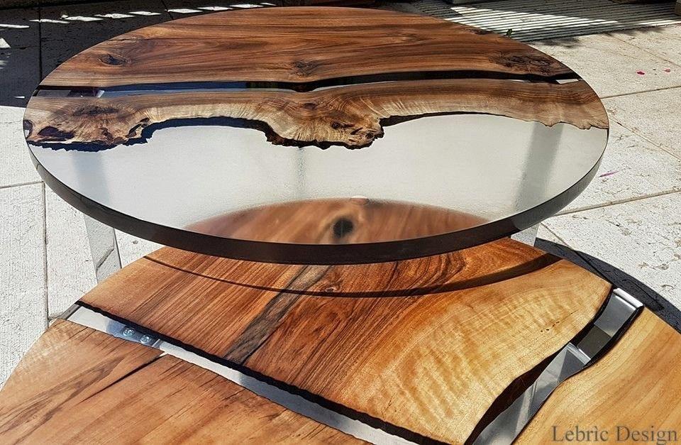 Mesa da sala de estar redonda luna tavolo in resina e for Tavolo legno resina