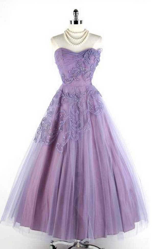 Vintage Prom Dress, Purple Prom Gowns, Beading Crystals Prom Dresses ...