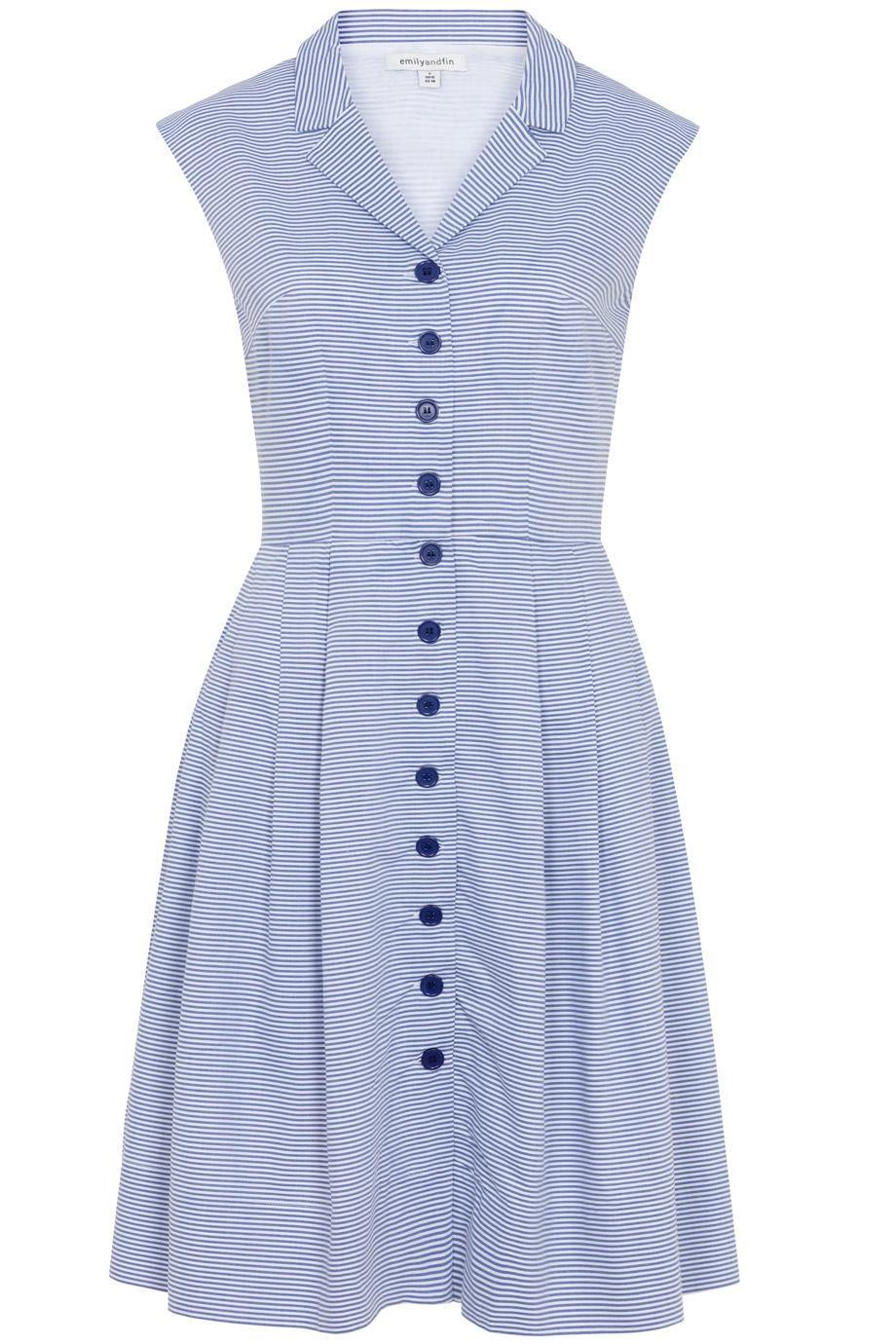 58ca241a9f8d Μιντι ριγε σιελ σεμιζιέ φορεμα απο βαμβακερο λεπτο υφασμα με print και  τσεπες στα πλαινα