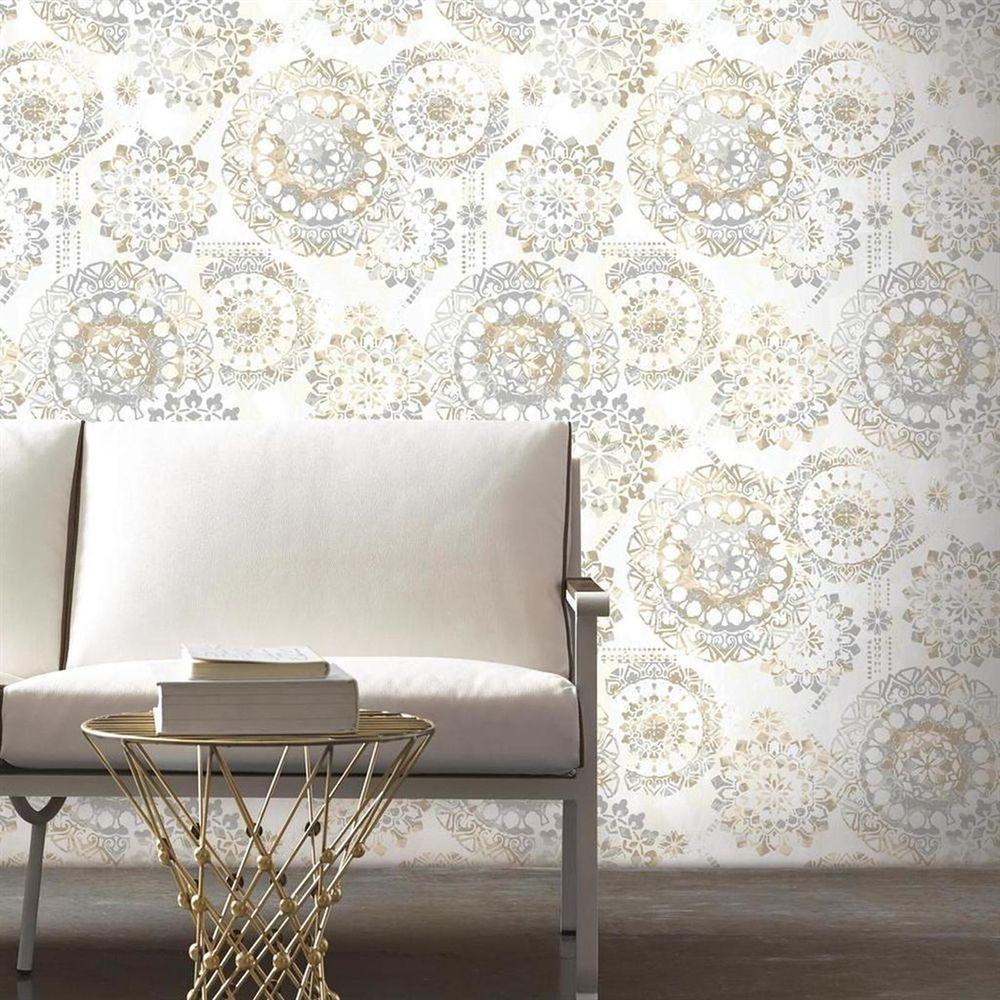Roommates Bohemian Tan Blue Peel And Stick Wallpaper Lowe S Canada Trending Decor Peel And Stick Wallpaper Home Decor