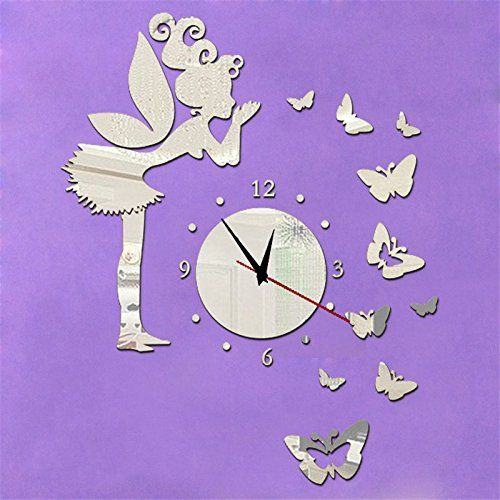 Wawoo Removeable DIY Angel Fairy Butterfly Wall Clock, Mirror Effect Quartz Clock  Wall Decals Wall Sticker Wall Clock For Kids Girls Bedroom Living Room ...