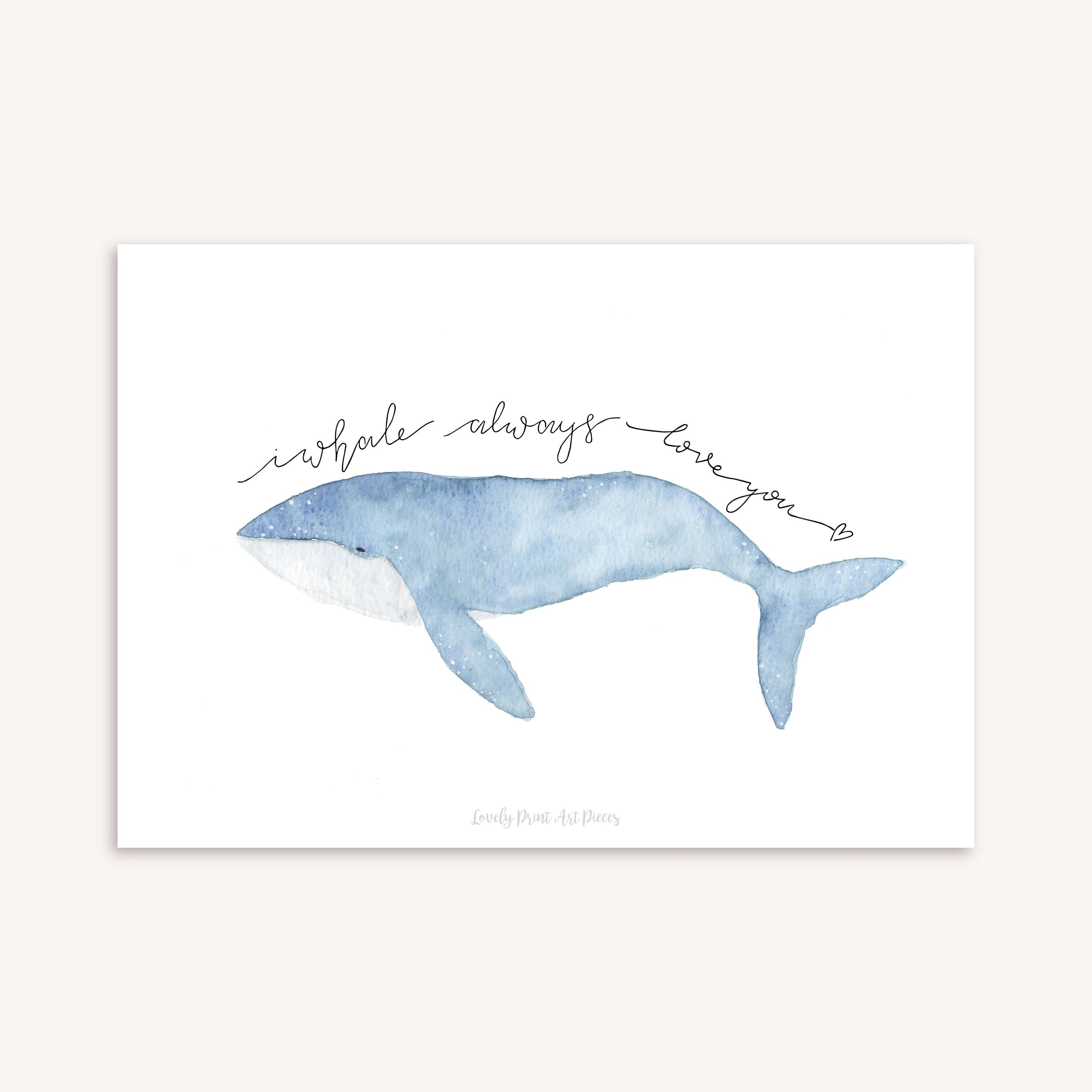 Printable Valentine's day gift card watercolor whale – I whale always love you – art print love illustration – poster download valentine A5