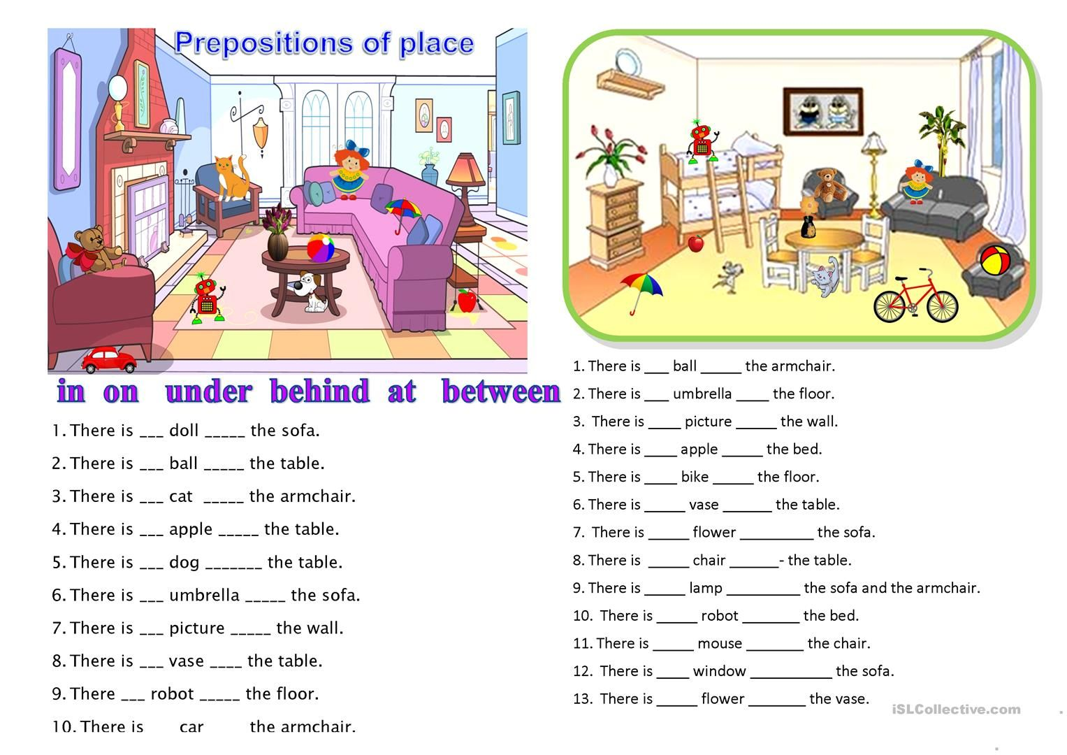 English Worksheet Place