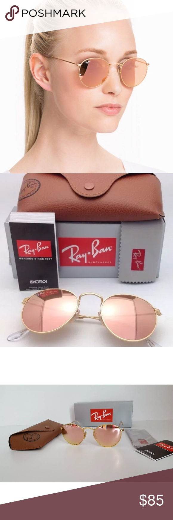 a3ddd5a7b21 inexpensive ray ban round metal pink flash lens gold frame brand new 100  authentic 100 ray