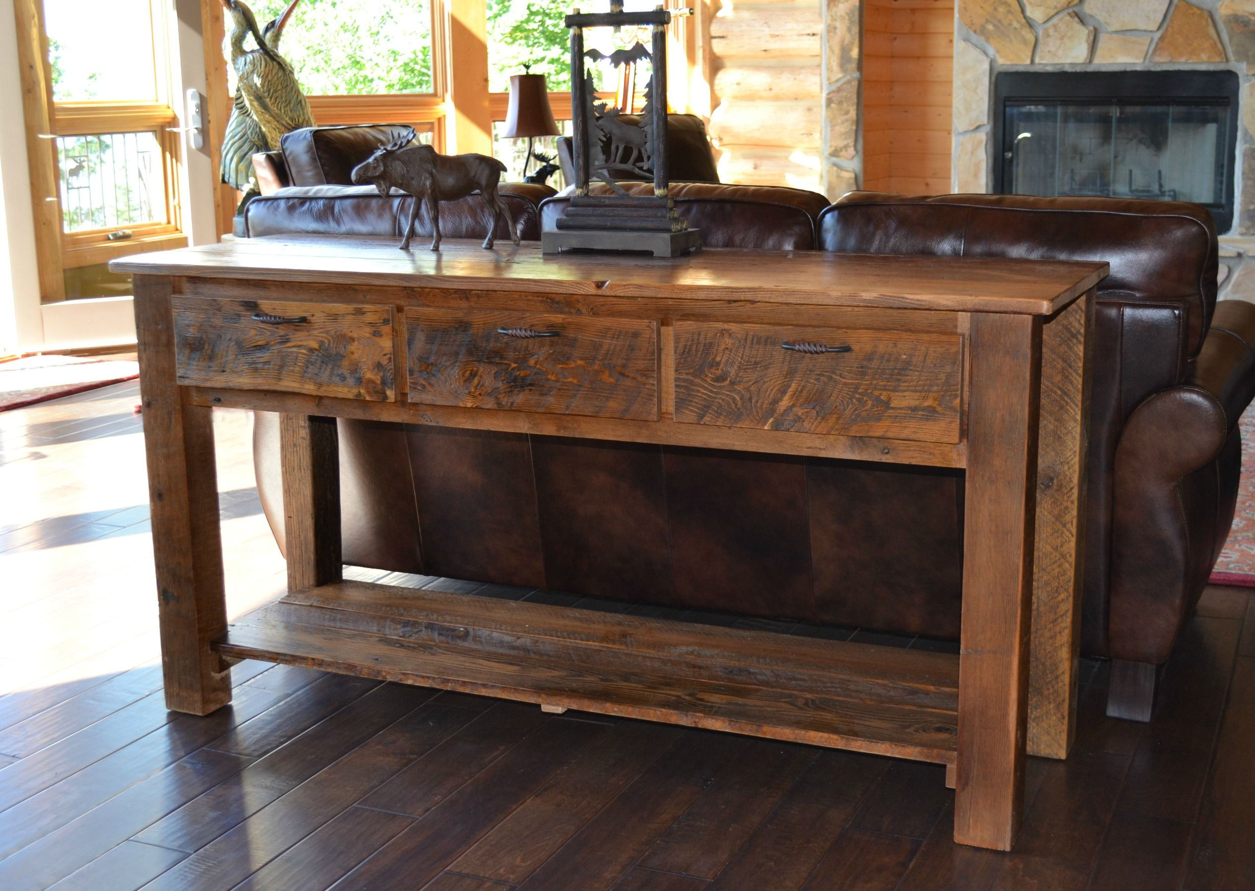How to make a sofa table out of floor boards - Sofa Tables Reclaimed Teton 3 Drawer Sofa Table