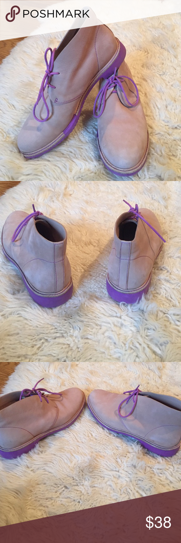 Cole Haan Desert Boots Purple sole, stitching, and laces. Good condition. Some marks on the heel of shoe. Cole Haan Shoes Ankle Boots & Booties