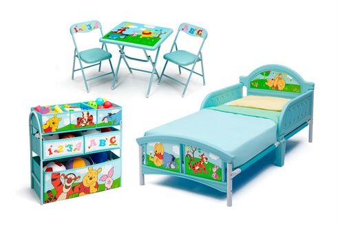 Ensemble lit, meuble de rangement, table et chaises Winnie l\'Ourson ...