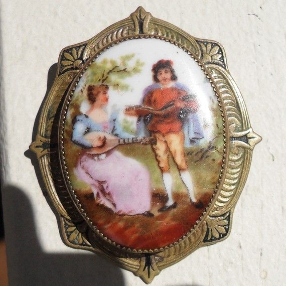 Victorian Hand Painted Brooch Porcelain Picture by nanascottagehouse, $22.00