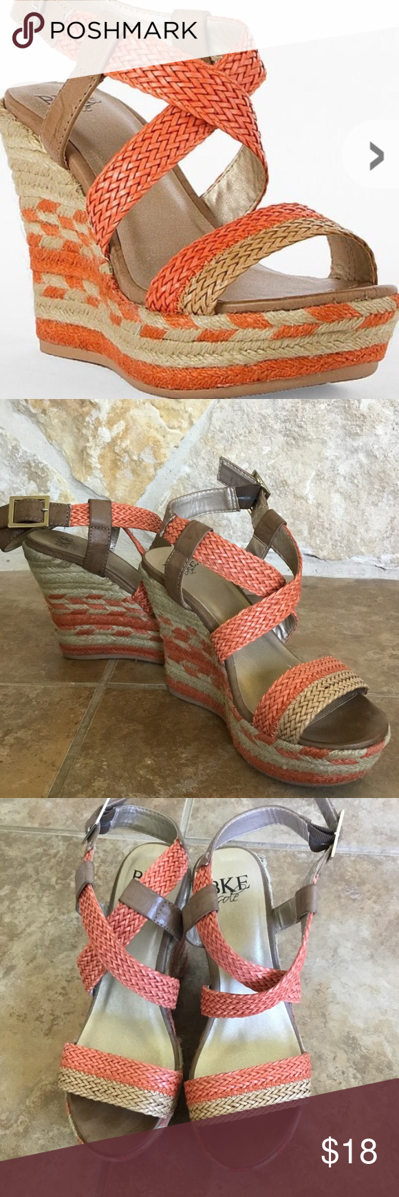 BKE Sole Wedges Preloved Orange striped Wedges.  Visible signs of wear on back heels and soles. Soles still in great condition with a lot of life still left in them. Boho chic! Festival ready! BKE Shoes Wedges